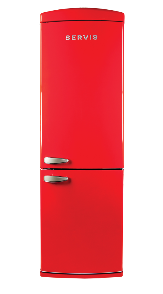 C60185NFR - Chilli Red - Retro Fridge Freezer