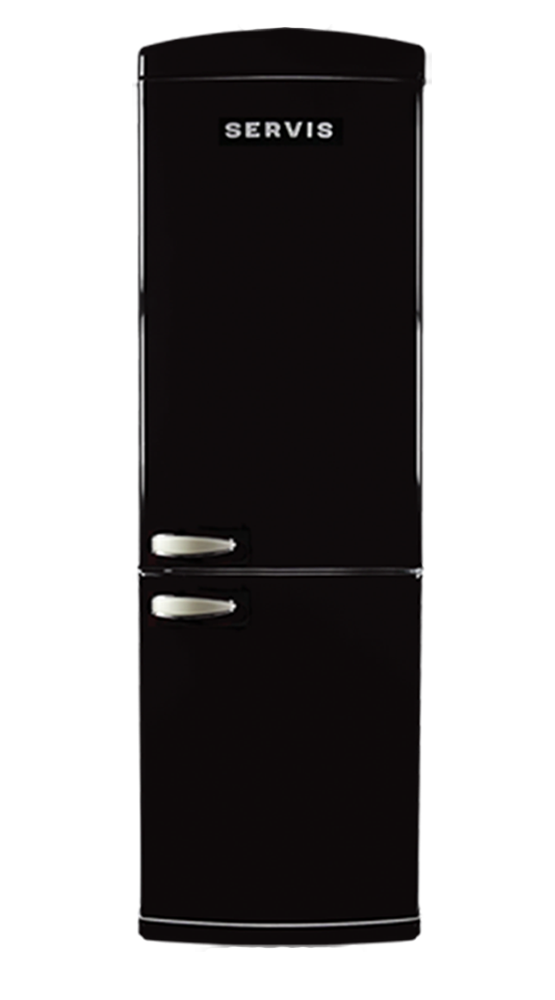 C60185NFB - Jet Black - Retro Fridge Freezer